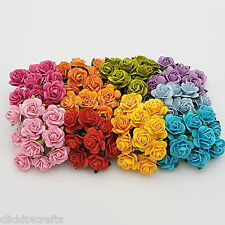 50 Mixed Mulberry Paper Flowers Roses Wedding Card Headpiece Home decor ZR8-427