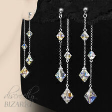 Long Sterling Silver Swarovski Crystal AB Beads Double Drop Handmade Earrings