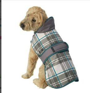 Petrageous Kodiak Dog Coat Waterproof Gray Aqua Plaid Small NEW