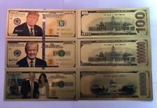 3 Donald & Melania Trump 24K Gold Plated Dollars Bill Bookmark Novelty Banknote