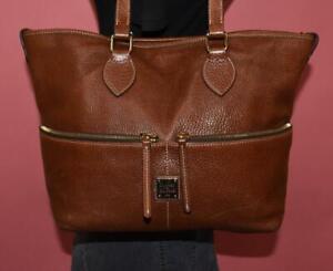DOONEY & BOURKE Brown Leather Tote Shoulder Shopper Large Bag Purse Carryall