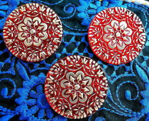 """Czech RUBY Crystal Glass LACY Buttons (3 pcs) #G954-37 mm - 1-3/8"""" - RARE RELIEF"""