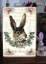 Primitive Easter Sign French Shabby & Chic Image Sign Rabbit Victorian Pink Rose