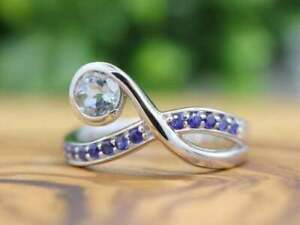 2Ct Round-Cut Aquamarine & Blue Sapphire Wedding Band Ring 14K White Gold Finish