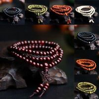 6mm Perles de Prière Méditation Bouddhiste Santal Bouddha Mala Bracelet DE