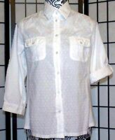 CATHY Women's Small White Button Down Blouse 3/4 Adjustable Sleeve EUC