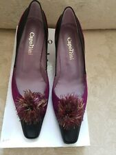 Ladies black leather purple suede shoes size 4 NEW!