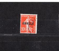 timbre France  Semeuser rouge 10c surchargé  annulé   NUM: 138 CI 1  oblitéré