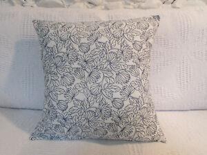"Pretty Cushion Cover, White, Navy Blue, Floral, IKEA, Fresh, Cotton, 16""."