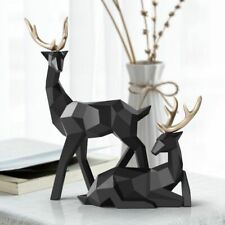 Nordic Figurines Deer Statue Geometric Resin Home Decor Statues Deer Figure Home