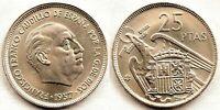 Spain-Estado Español - 25 Pesetas 1957*66 Madrid. SC-/UNC- Niquel 8,5 g.