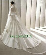 New 2T White Ivory Cathedral Length Wedding Bridal Veil Comb Hot Sale Ribbon 678