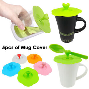 5pcs of Cup Cover Lid Silicone Mug Suction Drink Seal Cap Anti Dust Airtight