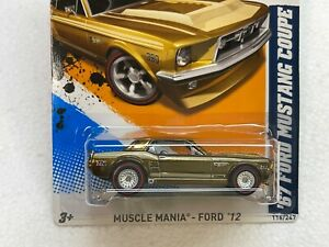 HOT WHEELS 2012 SUPER TREASURE HUNT 67 FORD MUSTANG COUPE #6/10 W/RUBBER TIRES