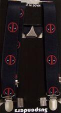 "Suspenders Children & Junior 1""x36"" FULLY Elastic Deadpool NEW Made in the USA"