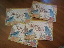 "4 Harvest Season Birds ""Bless This House"" Placemats NWT"