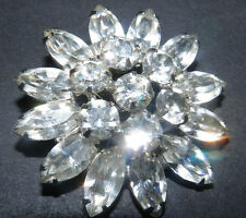VINTAGE SIGNED WEISS BRIGHT MARQUIS RHINESTONE SILVER TONE BROOCH