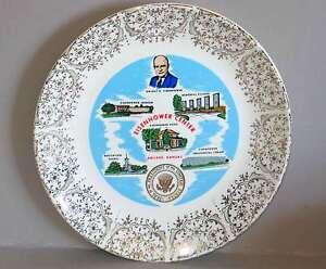 """President Eisenhower Center Souvenir Plate Abilene KS Kansas 9"""" Vtg US FREE SH"""