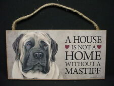 Mastiff A House Is Not Home Dog wood Sign wall hanging Plaque English puppy New