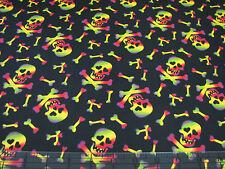 1 Yard Quilt Cotton Fabric - David Textiles Halloween Rainbow Skull Black