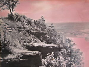 ANTIQUE VINTAGE 1888 ARTISTIC RED MOUNTAIN TRAIN RIVER LANDSCAPE LARGE OLD PHOTO