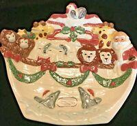 1995 Fitz and Floyd Christmas Noahs Ark Santa Canape Plate