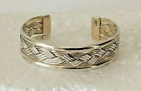 """Vintage Heavy 925 solid sterling silver WOVEN CUFF BANGLE 2.25 """" BRACELET 32g"""