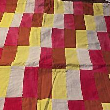 Vtg Handmade MCM Patchwork Baby Quilt Throw Lap Blanket Bed Crib Pram Coverlet