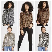 b624e747c2ec5c Aztec Leopard Snake Fendi Print Satin Long Sleeve Pussy Bow Blouse Shirt  Tops