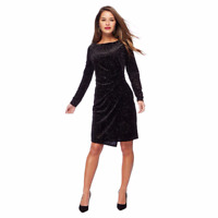 NEW EX DEBENHAMS PETITE BLACK LONG SLEEVE VELVET GLITTER DRESS RRP £45 SIZE 6-18