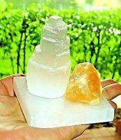 "Meditation Crystal Kit  Orange Calcite Selenite Charging Plate 3"" Selenite Tower"
