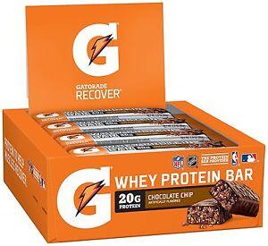 Gatorade Whey Protein Recovery Recover Bars 12 Pack w/ Free Gatorade Wristband