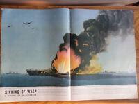 1943 Photo Article Ad WW 2  Tom Lea Paints Sinking of U. S. S. Wasp Battleship