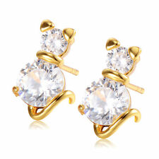 Korean Earings gold filled fashion jewelry Crystal Cute Cat Stud earrings Womens