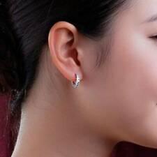 1/4 Ct Round Cut 100% Real Diamond Single Row Platinum Hoop Huggie Earrings New