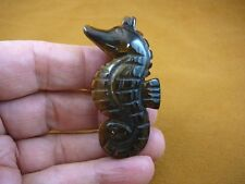 Y-Seah-709) Tiger's eye Seahorse sea marine horse gemstone Figurine gem carving