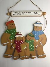 Rustic Vintage Wooden Ginger Cookies Hanging Holiday Christmas Decor