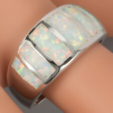 Simple White Fire Opal Inlay Silver Jewelry Wide Band Ring US Size 7 8 9 10