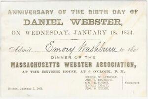 1854 Daniel Webster Birthday Anniversary Dinner Card Massachusetts Senator