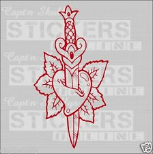 DAGGERED HEART DECAL 200x105mm M/purpose Captn Skullys Stickers Online MPN 1263