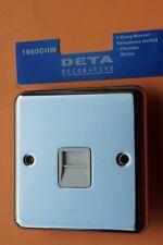 Deta 1960CH Round Plate Polished Chrome Master Telephone Socket White Inserts