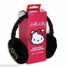Hello Kitty EarMuffs Ladies Girls Kids Gift Headphones Tangle Free Cable Black
