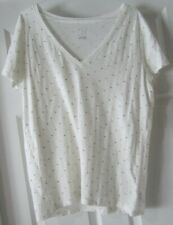 A New Day Women's White w/Sparkle Thread Light Weight Crop Sleeve Top – Size XXL