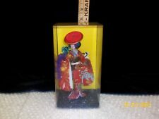 "Japanese Geisha Maiko Fashion 7"" Doll in Glass Display Case Vintage"