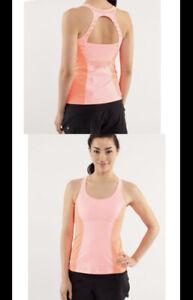 Lululemon Tank Top 4 Orange Pop Run Pace Yoga