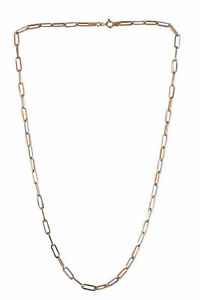Handmade Unisex Italian Link Chain Necklace In 750 Stamped 18Karat Two-Tone Gold