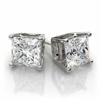 2.0 ct Princess Cut Solitaire Stud Earrings Real Solid 14k White Gold Screw Back