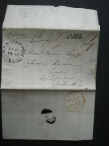 1847 HUNTINGDON MONTREAL CANADA TO IRELAND LETTER VARIOUS SCRIPT MARKS