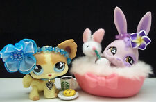 LITTLEST PET SHOP ULTRA RARE #764 BUNNY & CHIHUAHUA DOG #765 BED ACCESSORIES
