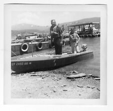 Father & Son Wearing Life Jackets In A Fishing Boat-Small Outboard Photo 1950s
